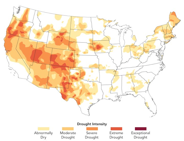 USA Drought Intensity August 2020 Annotated