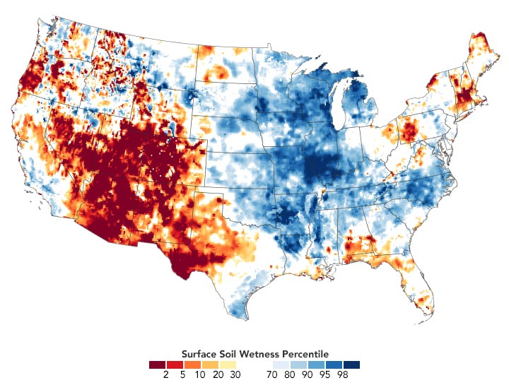 USA Surface Soil Wetness August 2020 Annotated