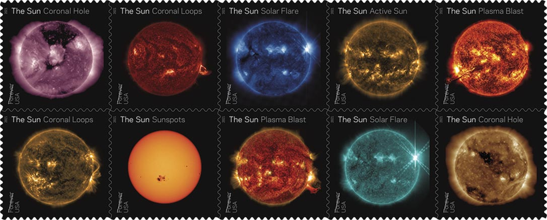 U.S. Postal Service to Issue Sun Science Forever Stamps With 10 Spectacular Images From NASA's Solar Dynamics Observatory