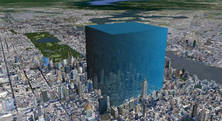 Visualization of 600–750 Million Cubic Meters of Water