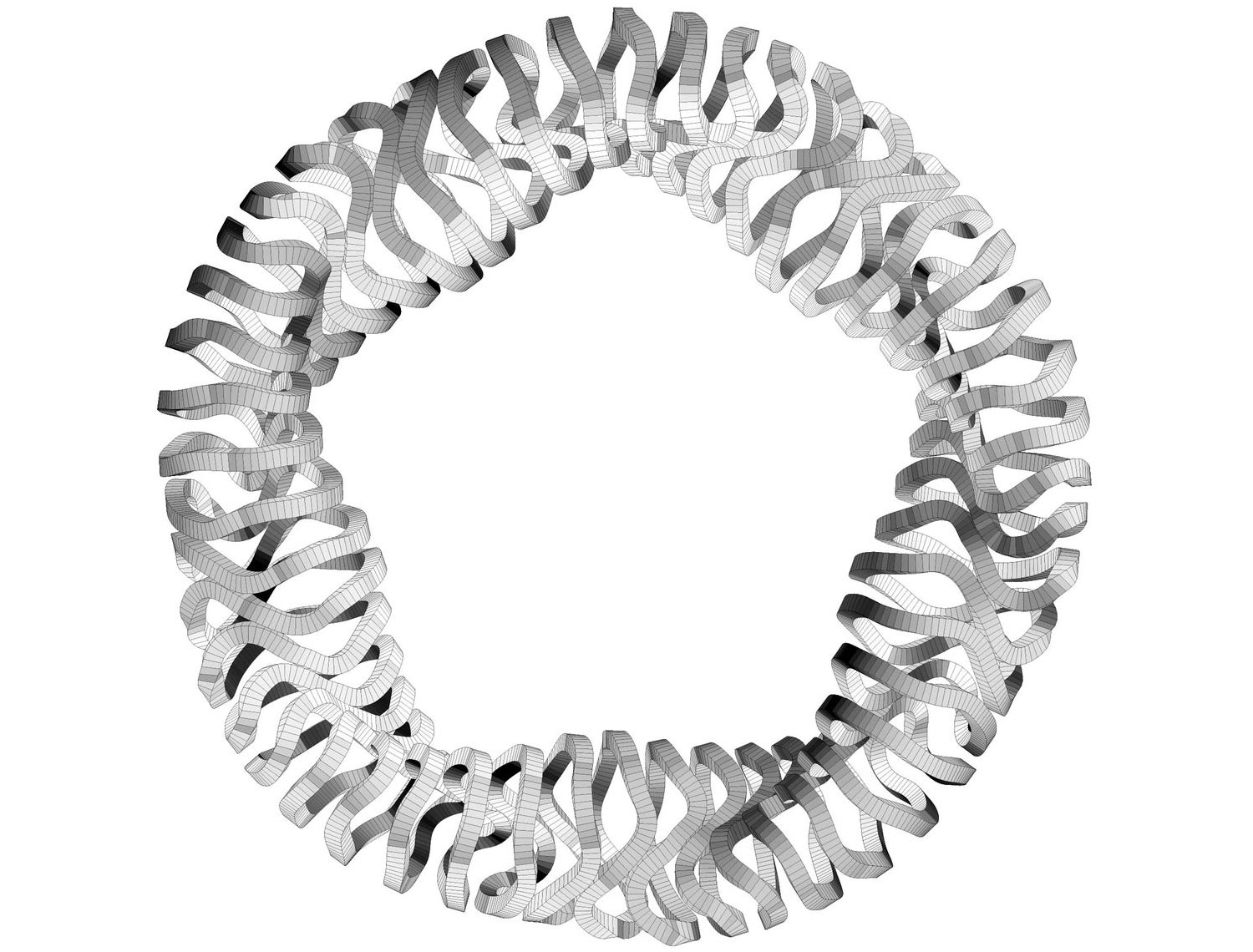 The magnet system of Wendelstein 7-X. Fifty superconducting magnet coils create the magnetic cage for confining the plasma. In the twisted coil forms,