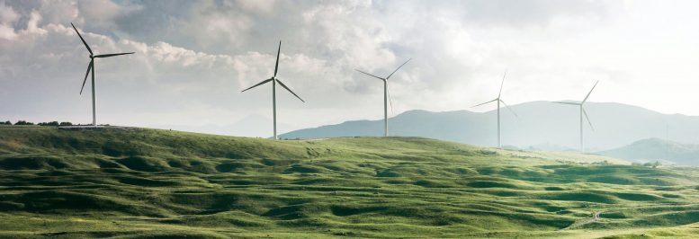 Wind Turbines on Green Hillside