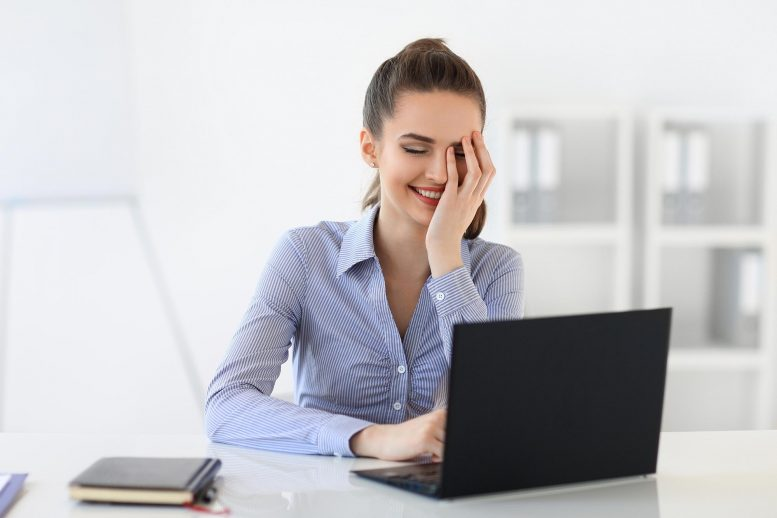 Woman Laughing Computer