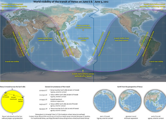 World visibility map for June 5-6, 2012 Venus Transit