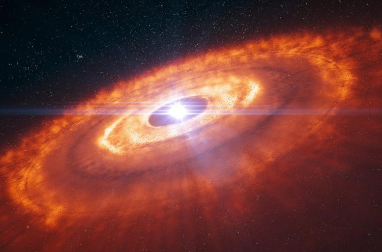 An Artist's Impression of a Young Star Surrounded by a Protoplanetary Disc