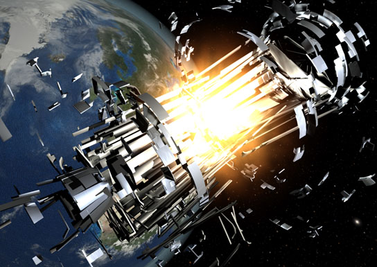 about 200 explosions and at least 5 collisions in space have occurred