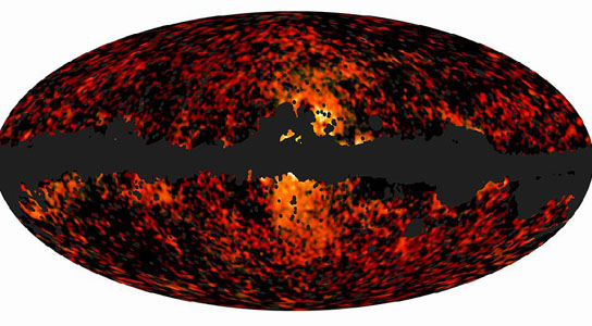 all-sky image shows the spatial distribution over the whole sky of the galactic haze at 30 and 44 GHz
