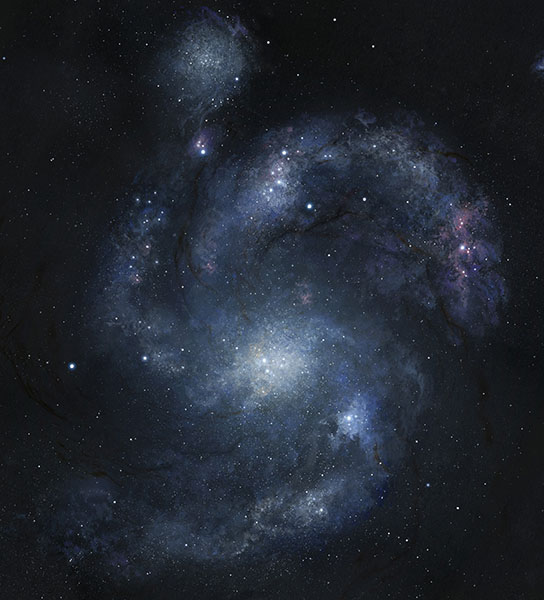 artist's rendering of galaxy BX442 and its companion dwarf galaxy