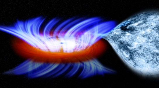 artist's impression shows a binary system containing a stellar-mass black hole called IGR J17091-3624