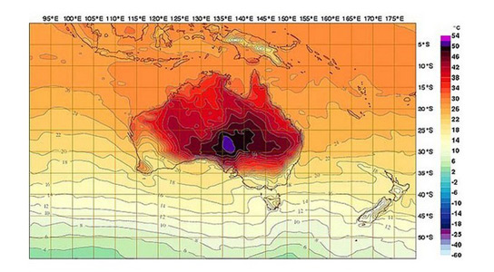 Australia needed new colors to show the forecast heatwave on their temperature map (they've since revised predictions down to 122ºF/50ºC). Credit: Australia's Bureau of Meteorology