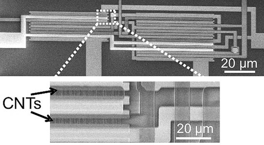 carbon nanotube transistors (CNTs) arranged in an integrated logic circuit