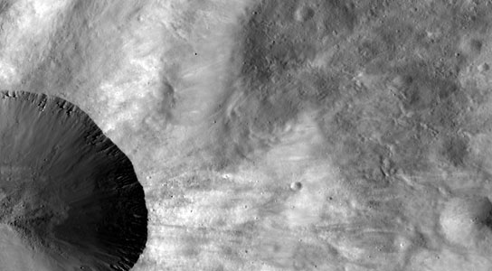 close up of part of the rim around the crater Canuleia