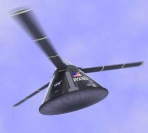 concept shows a capsule flying back to Earth with a rotor blade system