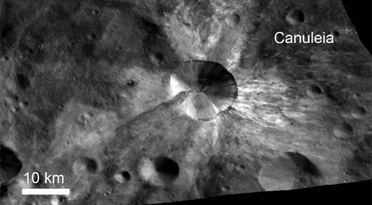 crater Canuleia on Vesta