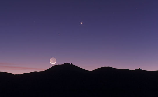 crescent Moon and earthshine over ESO's Paranal Observatory