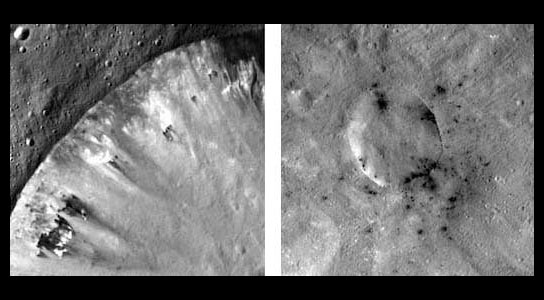dark, carbonaceous material on Vesta