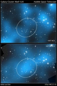 dark matter in the core of the merging galaxy cluster Abell 520