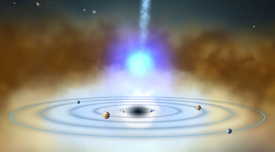 environment around NGC 4151's supermassive black hole with the orbits of the planets in our solar system