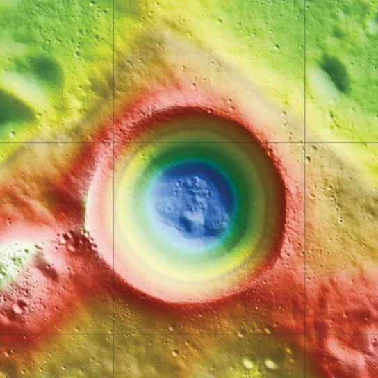 evidence of ice content at the moon's south pole