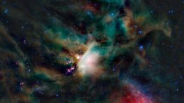 false-color infrared image of the star forming region in the constellation of Ophiuchus