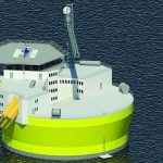 The proposed Offshore Floating Nuclear Plant structure is about 45 meters in diameter, and the plant will generate 300 megawatts of electricity. An alternative design for a 1,100 MW plant calls for a structure about 75 meters in diameter. In both cases, the structures include living quarters and helipads for transporting personnel, similar to offshore oil drilling platforms.