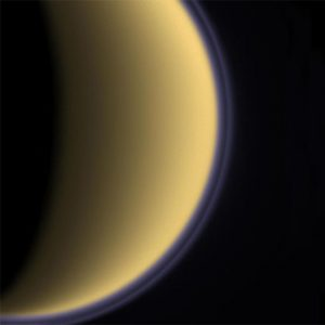haze layer (purple line) that appears to float above Titan's main atmospheric haze