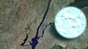 illustration compares the size of a neutron star to Manhattan