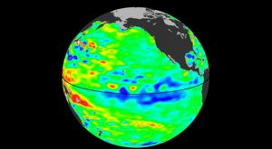 image of sea surface heights in the Pacific Ocean from NASA's Jason-2 satellite