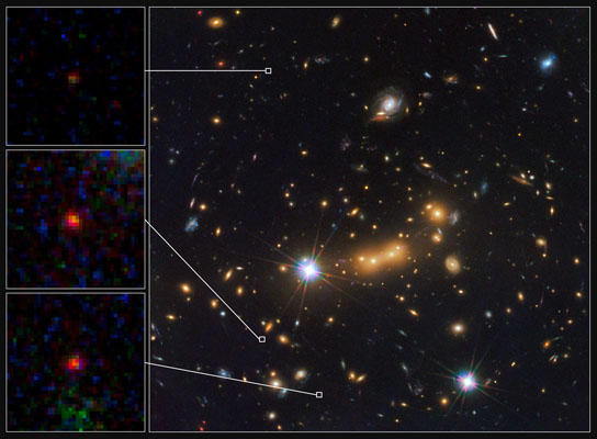 magnified views of most distant known galaxy