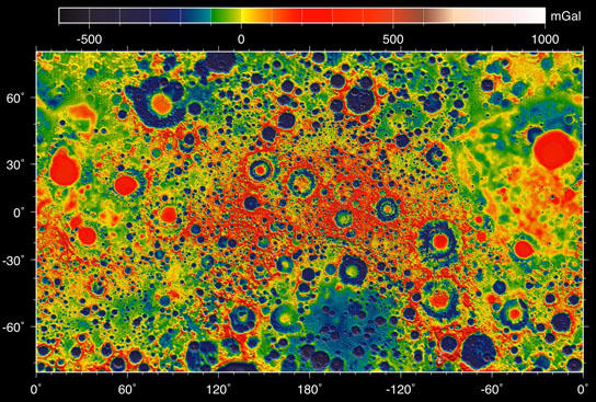map of the gravity field of the moon