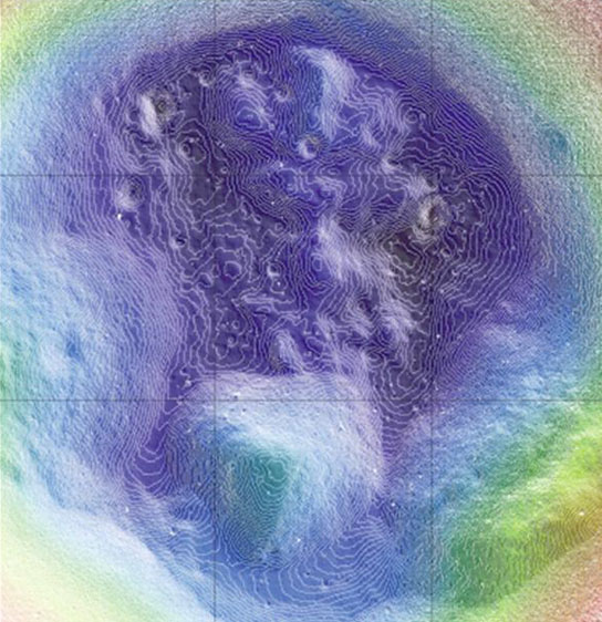 map showing the topography in the interior of Shackleton crater