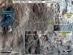 map traces NASA's Mars rover Curiosity's path