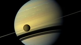 natural color view of Titan and Saturn