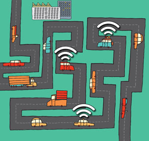 new algorithm lets networks of Wi-Fi-connected cars share a few expensive links to the Internet