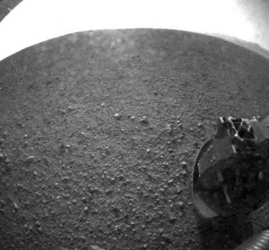 one of the first images taken by NASA's Curiosity rover from Mars