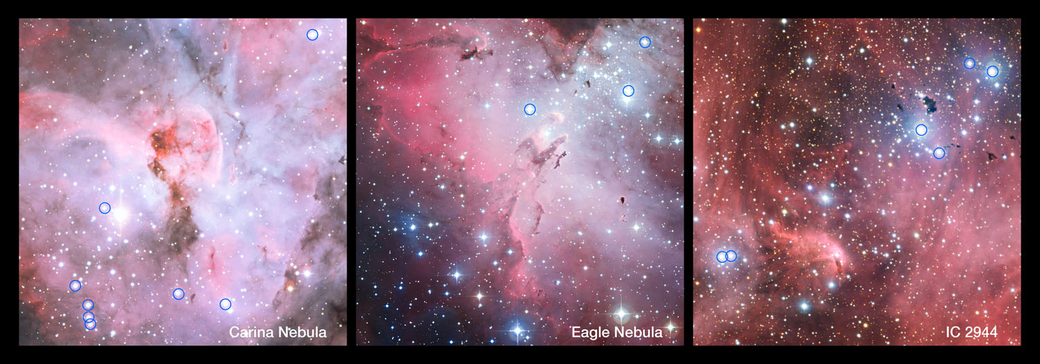 panoramic views show parts of the Carina Nebula, the Eagle Nebula and IC 2944