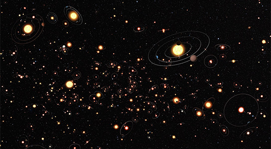 Illustration Shows Planets ar Common Around Stars in the Milky Way
