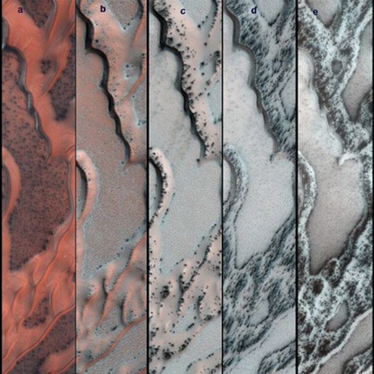 series-of-false-color-pictures-of-sand-dunes-in-the-north-polar-region-of-Mars