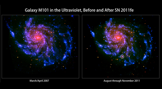 spiral galaxy M101 before and after the appearance of SN 2011fe