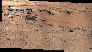 the Rocknest site, which has been selected as the likely location for first use of the scoop on the arm of NASA's Mars rover Curiosity