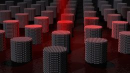 ultimate magnetic storage medium consisting of many individual nanometre sized magnetic grains