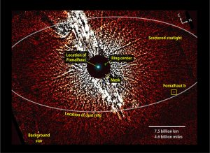 visible-light image from the Hubble Space Telescope shows the vicinity of the star Fomalhaut