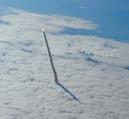 Space Shuttle Endeavour Through the Clouds