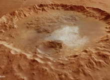 Perspective View Across a Crater in Erythraeum Chaos